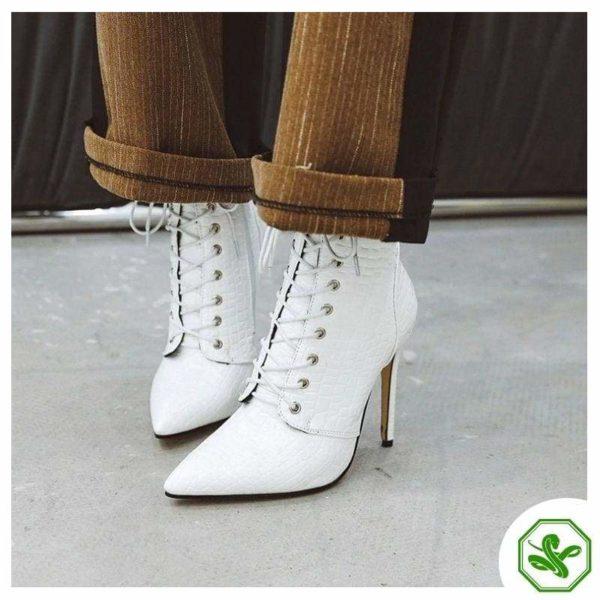 white snake heel boots women