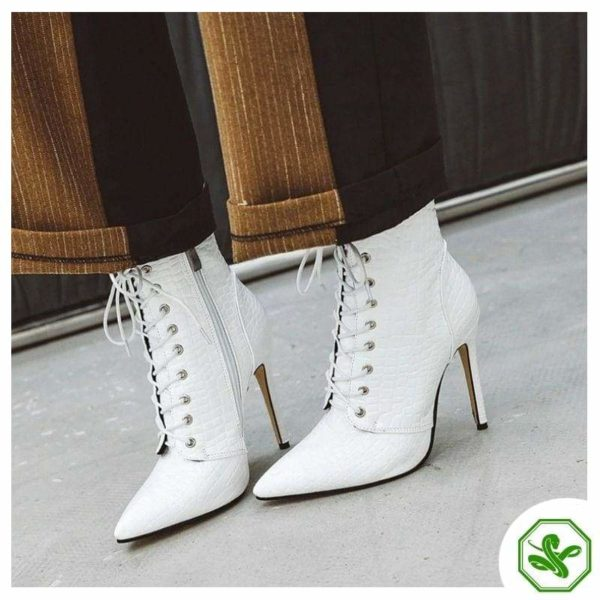 woman white snake heel boots