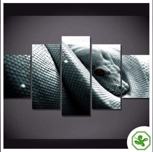 Snake Painting of a White Reptile