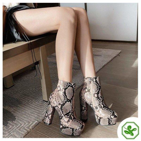 Women's Snake Print Boots 9
