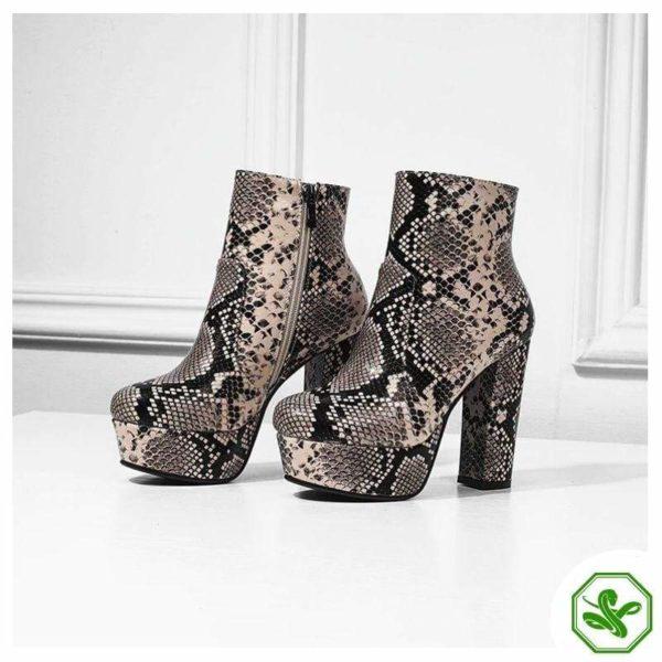 Women's Snake Print Boots 8
