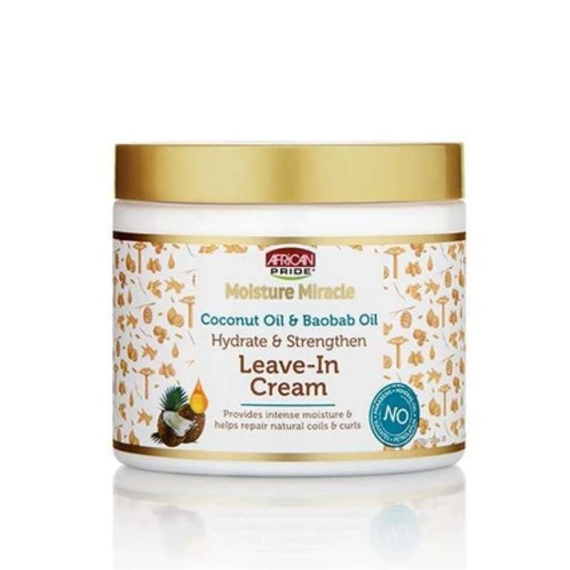 African Pride Moisture Miracle Coconut Oil & Baobab Oil Leave – In Cream - cheveuxcrepus.fr