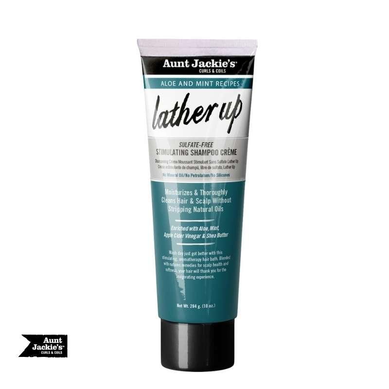 Aunt Jackie's Aloe and Mint Lather Up Sulfate-Free Stimulating Shampoo Crème - cheveuxcrepus.fr