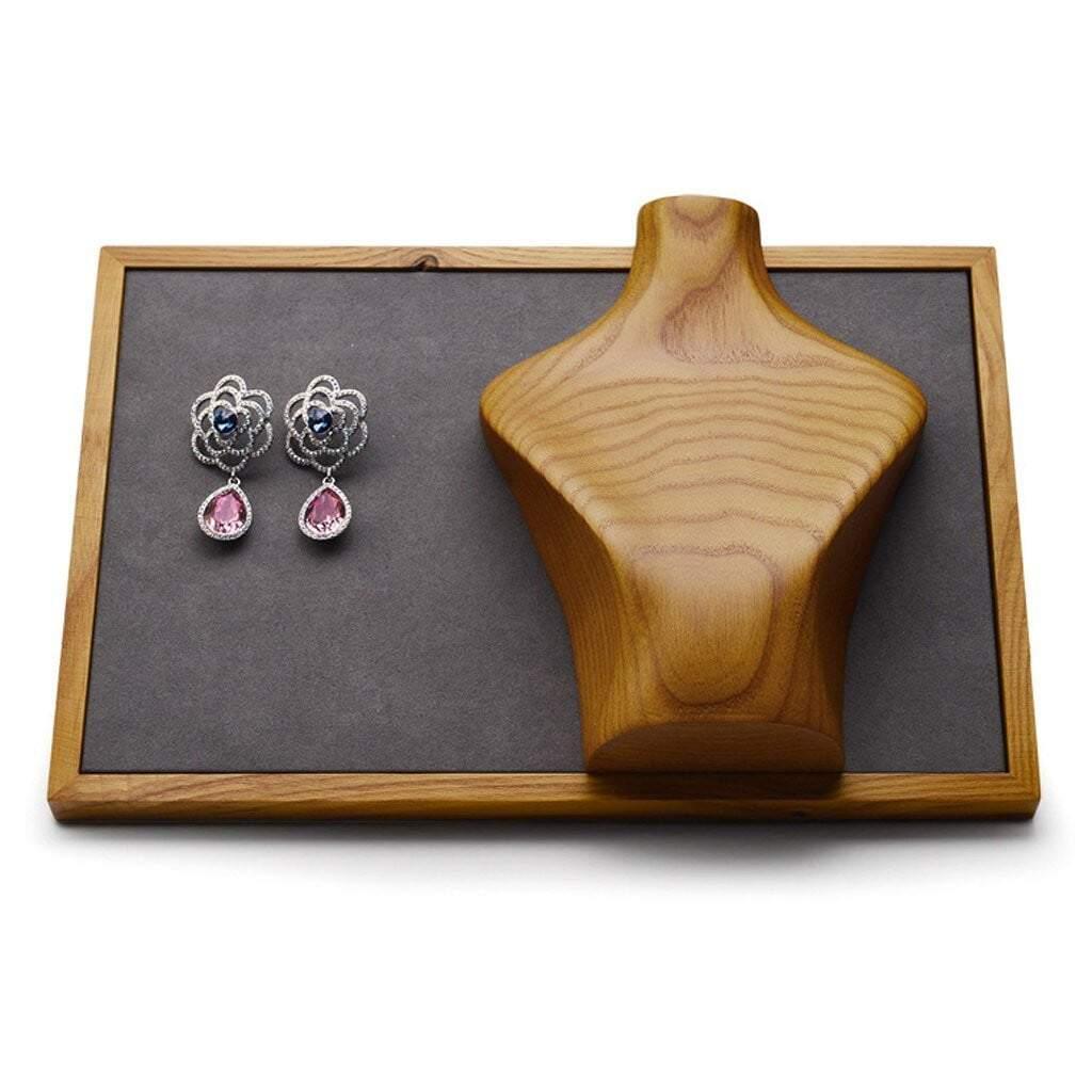 Buste pour bijoux en bois