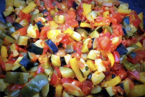 légumes coupés de façon irréguliere