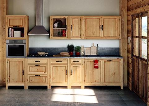 meubles de cuisine en bois brut
