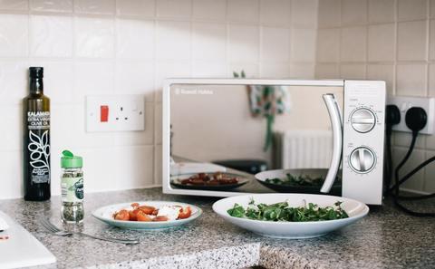 On y voit posé sur un plan de travail un four micro-ondes avec des 2 plats préparés par le four micro-ondes