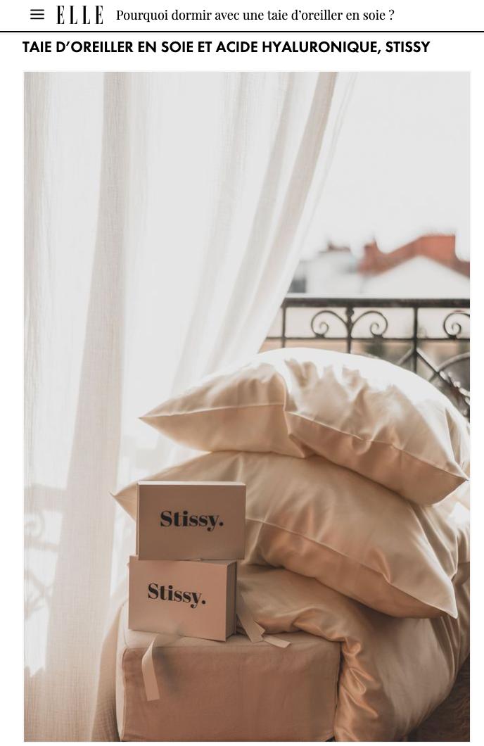 taie d'oreiller en soie et acide hyaluronique hypoallergenique stissy