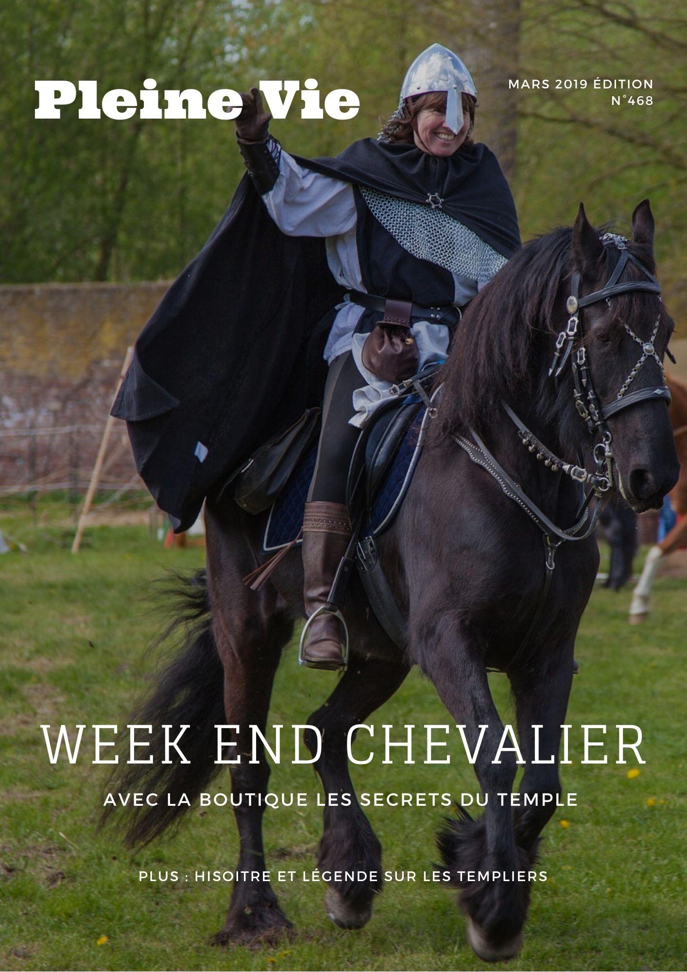 Magazine chevalier noir  sur un cheval noir