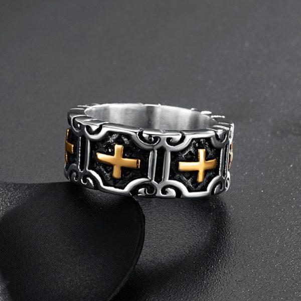 Anneau pour homme en argent et or chevalier médiéval