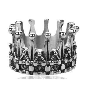 Bague en argent simple homme couronne de chevalier