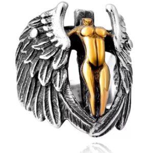 Bague en forme d'ange religieux en or
