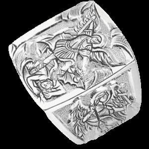 Bague homme avec gravure de l'Archange St Michel
