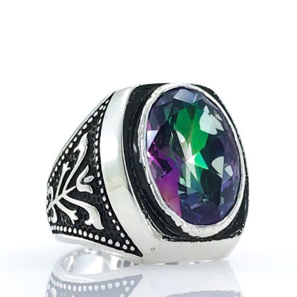 Bague pour homme en argent avec pierre précieuse violet vert et noir