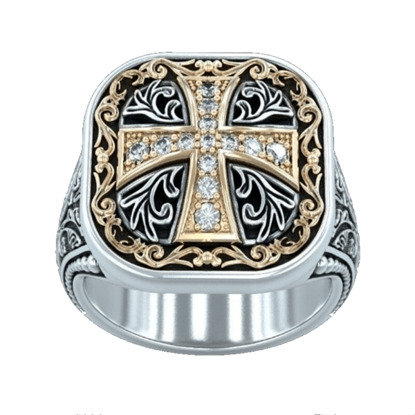 Chevalière à diamant croix de templier
