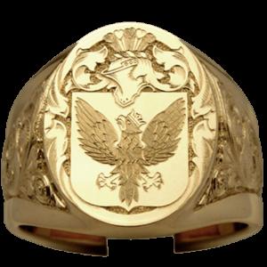 Chevalière à petit doigt pour homme chevalier bouclier en or