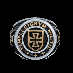 Chevalière initiale et croix de templier en or