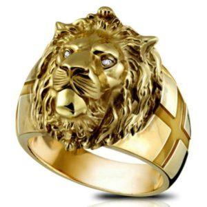 Chevalière pour homme lion de chevalier en or