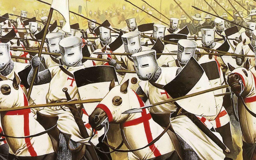 Chevalier templier en armure combat croisade du moyen âge
