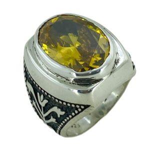 Bague homme avec pierre jaune en argent