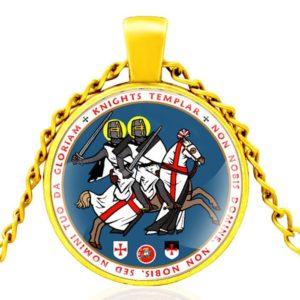 Chaine en or pendentif des chevaliers templiers