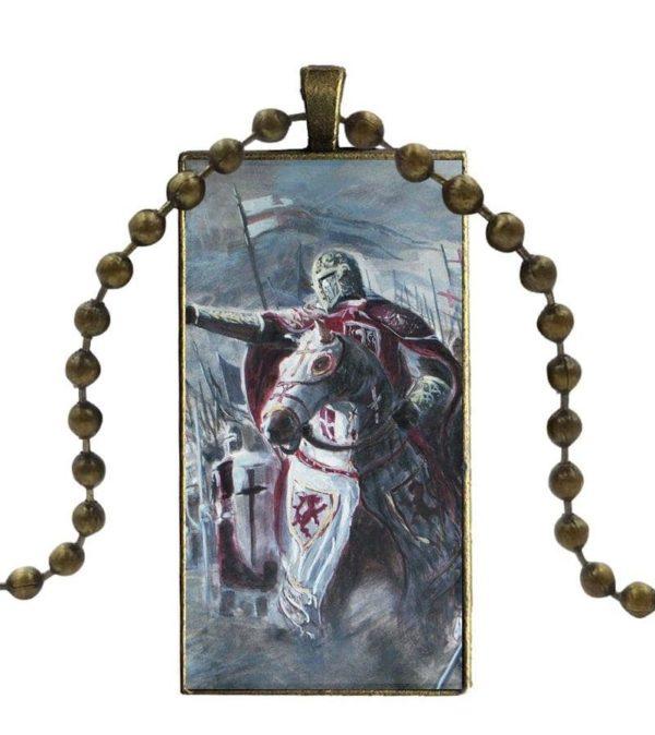 Chaine et pendentif de chevalier du temple à cheval