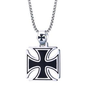 Chaine pour homme croix en métal noir de templier