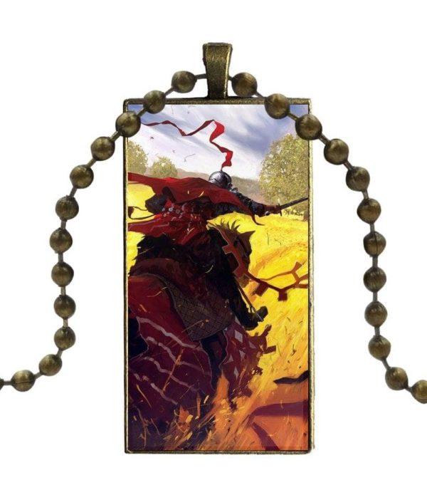 Collier à pendentif chevalier à cheval rouge croisade des templier moyen age