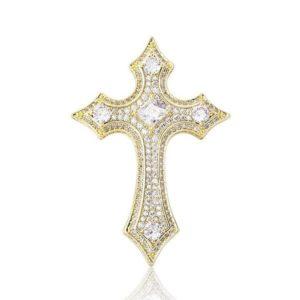 Collier croix de Jésus pendentif médiéval à diamant