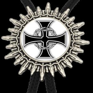 Collier croix de Malte en noir et blanc argent et acier