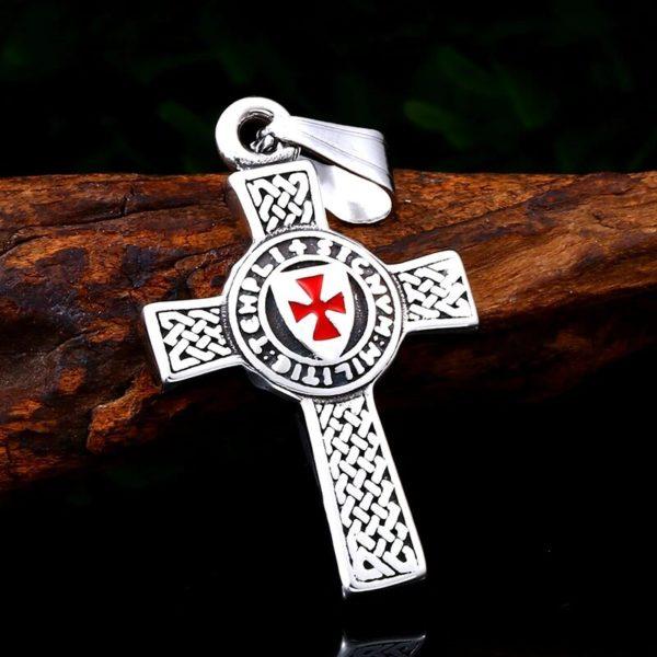 Collier croix en argent des chevaliers du christ croix rouge en acier