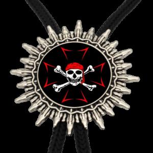 Collier croix noir et rouge avec une tête de mort