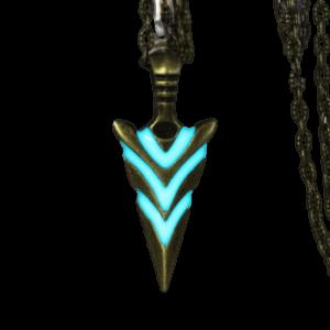 Collier flèche de chevalier fluorescente bleu
