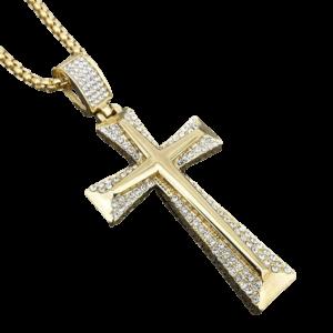Croix et collier religieux en or avec des diamants