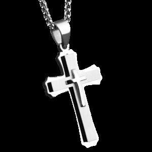 Croix pendentif pour homme religieux avec une chaine