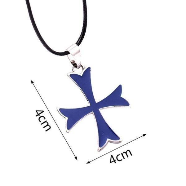 Pendentif croix de templier colorée en acier inoxydable avec une corde de cuir