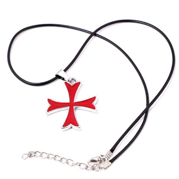 Pendentif croix de templier rouge et gris en argent avec une corde de cuir