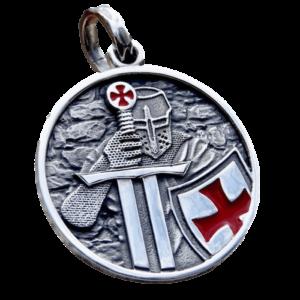 Pendentif rond de chevalier templier en armure