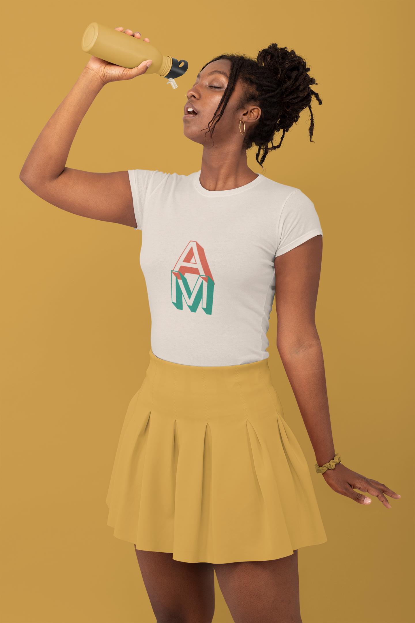 monochromatic t shirt mockup of a stylish woman drinking water at a studio 32794