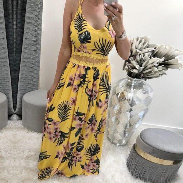 Robe Florale Élégante Minute Mode Jaune XL