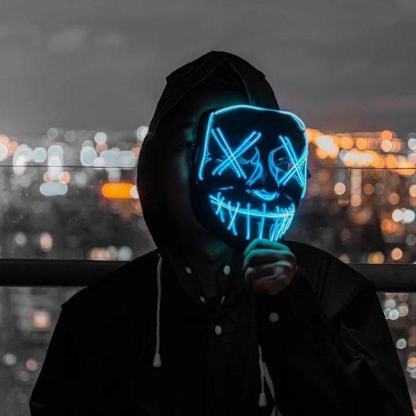 "Masque Luminescent ""The Purge"" Halloween Raton Malin"