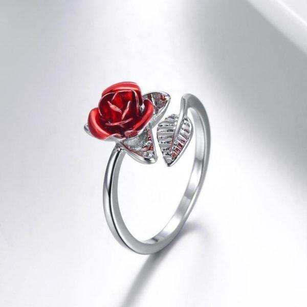 Bague en Forme de Rose Minute Mode Argenté (réglable)
