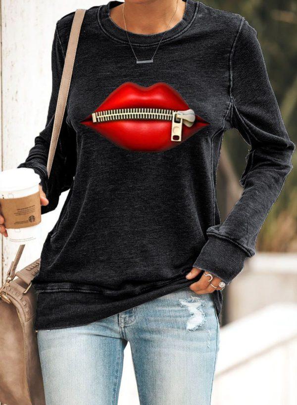 """Sweat à Manches Longues """"RED LIPS"""" Minute Mode Noir XL"""