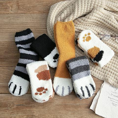 1Pair Girl Softs Coral fleece Bed Floor Thicken Stripe Cat Claw Socks Fluffy Winter Warm Breathable 3 480x480 aeba14a2 6c84 4beb aa91 5f9b09ee5904 Chaussettes Pattes De Chat