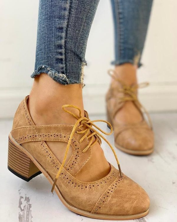 Chaussures Vintage à Talons Minute Mode Beige 36
