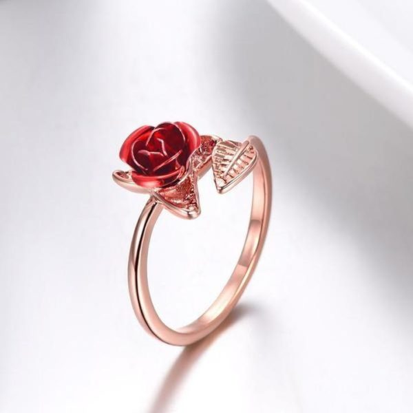 Bague en Forme de Rose Minute Mode Or Rose (réglable)