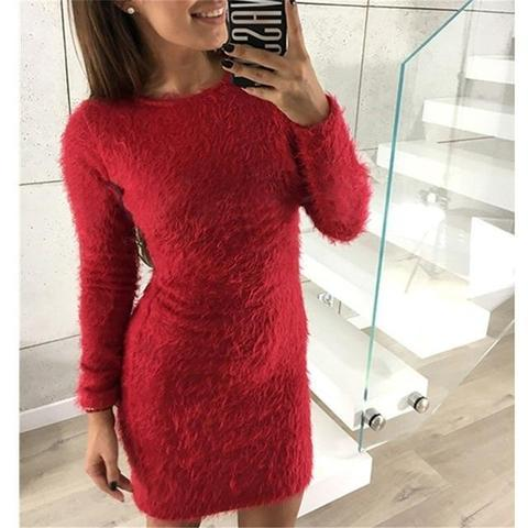 Robe-Pull Douce et Confortable Minute Mode Rouge XXXL