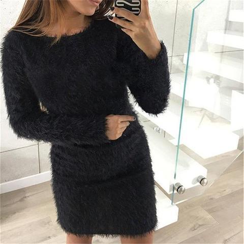 Robe-Pull Douce et Confortable Minute Mode Noir XXXL