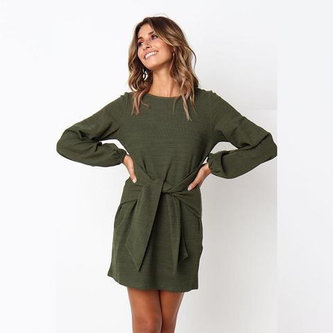 Robe de Saison à Nouer Minute Mode Vert L