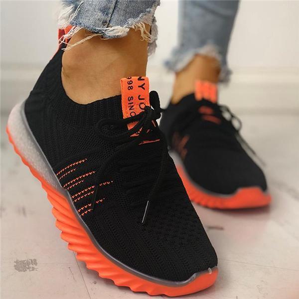 Baskets Féminines Colorées Minute Mode Noir et Orange 9